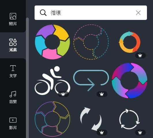 Canva  edit tools element search keyword:cycle