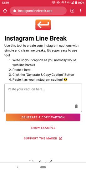 instagram line break 在手機的 Chrome 瀏覽器上的畫面