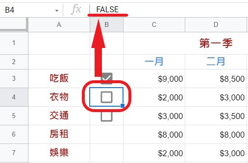 核取方塊的預設值=False